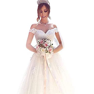 85d037ba5a6 Yuxin Elegant Sweetheart Princess Ball Gown Wedding Dresses 2018 Lace Off  Shoulder Bridal Gowns(Ivory