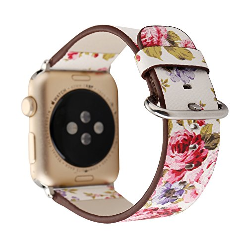 Flower Design Strap for iWatch, 42mm Floral Pattern Printed Leather Wrist Band Apple Watch Link Bracelet for Apple Watch Smartwatch Fitness Tracker Series 3 2 1 Version (White+ Pink ()