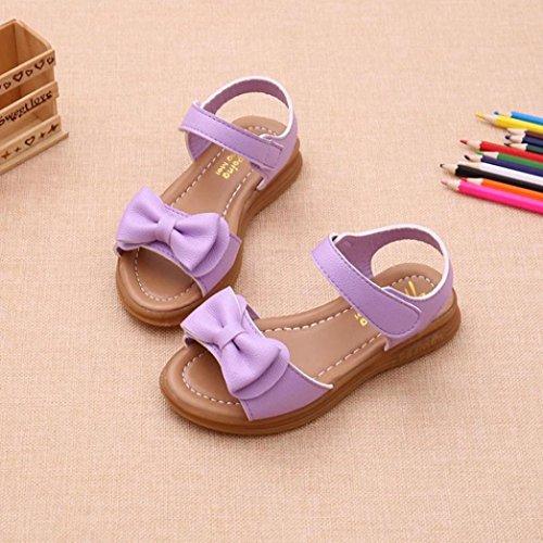 IGEMY Kinder Mädchen Bowknot Haken & Loop Sandalen, rutschfeste Prinzessin Casual Schuhe ein bis neun Jahre alt Lila
