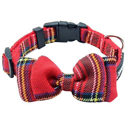 Plaid Dog Collar Bowtie Adjustable British Style for Small Medium Dogs Neck Girth 8
