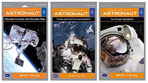 Astronaut Foods Freeze-Dried Ready To Eat Space Food Ice Cream 3 Flavor Variety Bundle, (1) each: Chocolate Chocolate Chip, Cookies and Cream Sandwich, Vanilla Sandwich (3 Pouches) Chocolate Ice Cream Sandwich