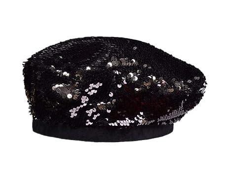 032c665501c9f KAOKAOO Women s Flat Cap Shining Party Beanie Cap Sequin Beret Hat Sparkly  Hats(Black-