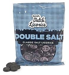 Gustafs Dutch Licorice Double Salt Classic Salt Licorice Coins - 5.2 oz Retail Bag - Made In Holland