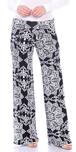 Popana Womens Comfy Chic Wide Leg Boho Print Palazzo Pants Plus Size Made in USA Small ST27 Abstract ()