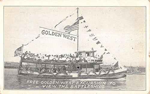 Golden West Excursion Battleship Patriotic Antique Postcard K22367