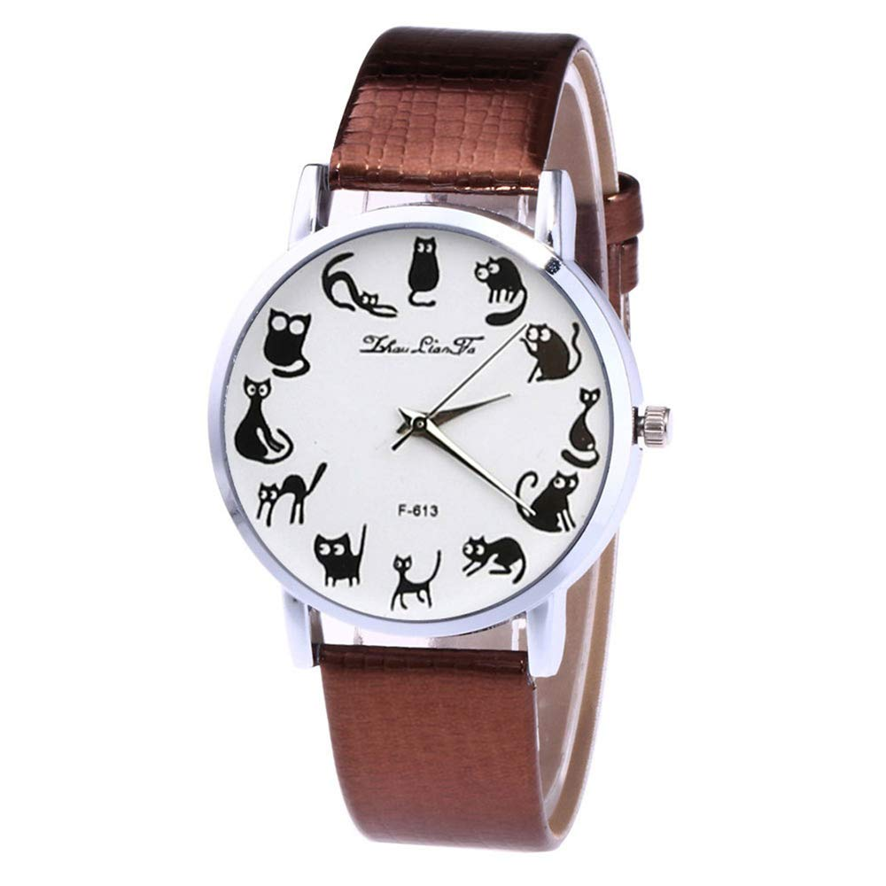Amazon.com: WoCoo Fashion Cute Cat-Pointer Dress Analog Quartz Wrist Watch with Leather Mesh Band Watches Gifts for Women(White): Kitchen & Dining