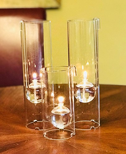 Chimney Lamps Handblown Glass Oil Lamp Set of Three