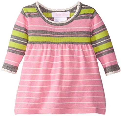 Bonnie Baby Baby-Girls Multi Stripe Bodice Sweater Dress, Pink, 3-6 ()