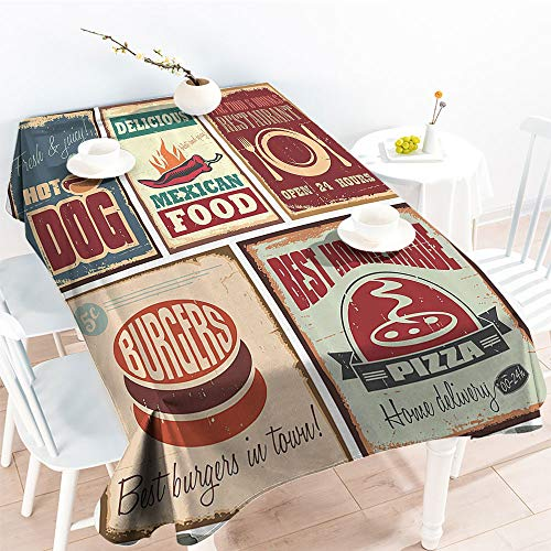 Jinguizi Oil-Proof Spill-Proof Nostalgic Tin Signs and Retro Mexican Food Prints Aged Advirtising Logo Style Artistic Design Outdoor and Indoor Use Tablecloth Multi(70 by 90 Inch Oblong Rectangular)