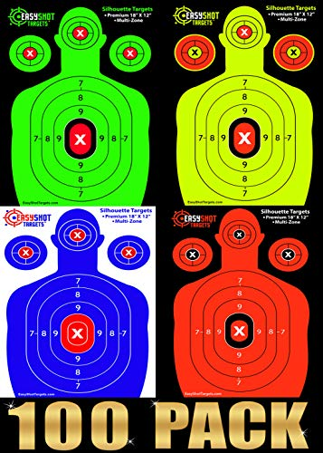Pistol Range Targets - 100-Pack Shooting Targets - 25 Sheets of Each Color: Fluorescent Orange, Neon Green, Electric Blue and Neon Yellow. Easy to See Your Shots Land, Heavy-Duty Silhouette Paper Sheets