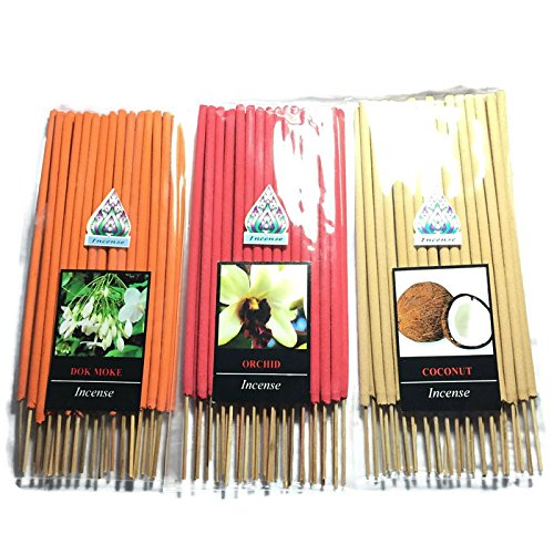 3 Pcs 90 STICKS (DOK-MORE,ORCHID,COCONUT) INCENSE STICK AROMA FRAGRANCE PREMIUM WOODS SCENT NATURAL