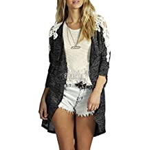 Women Casual Bawing Hollow Lace Patchwork Irregular hem Cardigan Outwear Tops