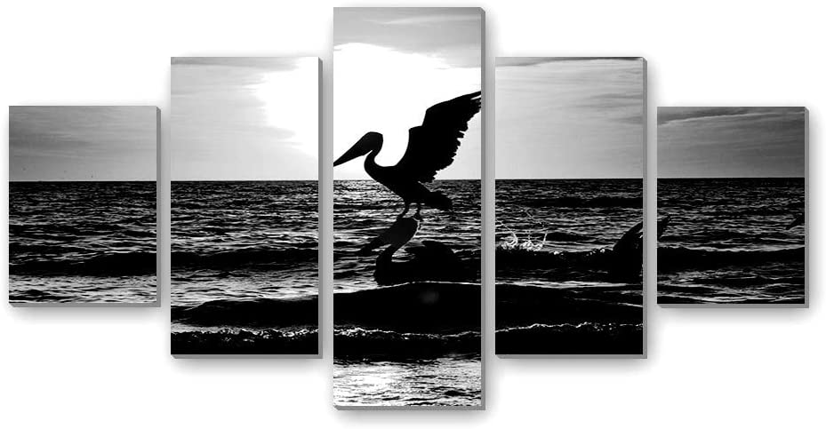 pelicans-Bird - Canvas Print Pictures 5 Piece Wall Art Stretched and Framed Artwork Home Decor Ready to Hang Posters and Prints(40''Wx20'H) Black and white