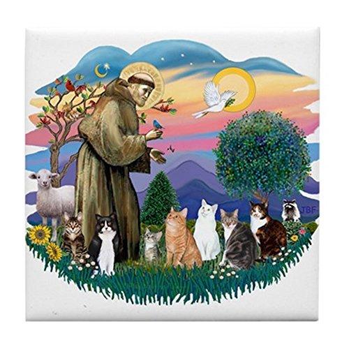CafePress - St Francis (ff)-7 Cats Tile Coaster - Tile Coaster, Drink (Black Cat Tile)