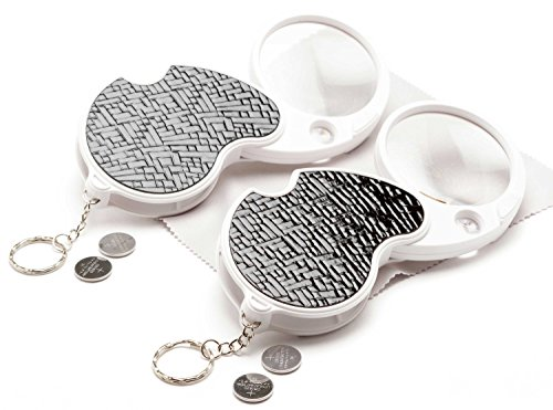 - cmoredetail 2 Pack Folding Magnifying Glass Bundle: 2 Lighted Folding Pocket Magnifiers with 3X Magnifying Glass & 15x Zoom + Batteries, Bonus & Guarantee; Perfect Mini Magnifying Glass for Travel