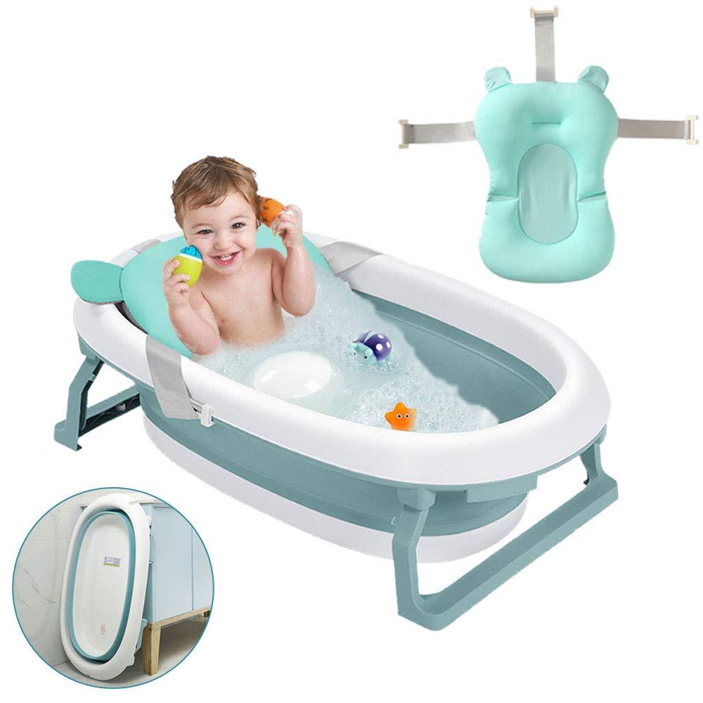 blue Foldable Bathtub With Safety Support Cushion Foldable Baby Bathtub Suitable For Newborn Bathing Shower Tray Baby Bathtub Drain Plug