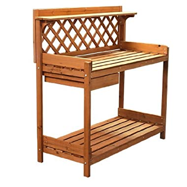 Best Choice Products® Potting Bench Outdoor Garden Work Bench Station Planting Solid Wood Construction