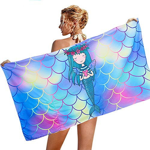 AOLIGE Microfiber Beach Towel for Travel Beach Blanket Portable Sand Proof Outdoor Picnic Mat (Mermaid 1)