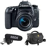 Canon EOS 77D DSLR Camera with 18-55mm Lens plus Rode VideoMic Pro, Rycote Lyre Shockmount and Journey 34 DSLR Shoulder Bag (Black)