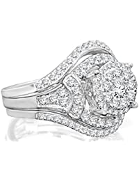 Triple Shank Wedding Bands Ring Set 10K White Gold and 1.30 Carat Real Diamond. Engagement Ring