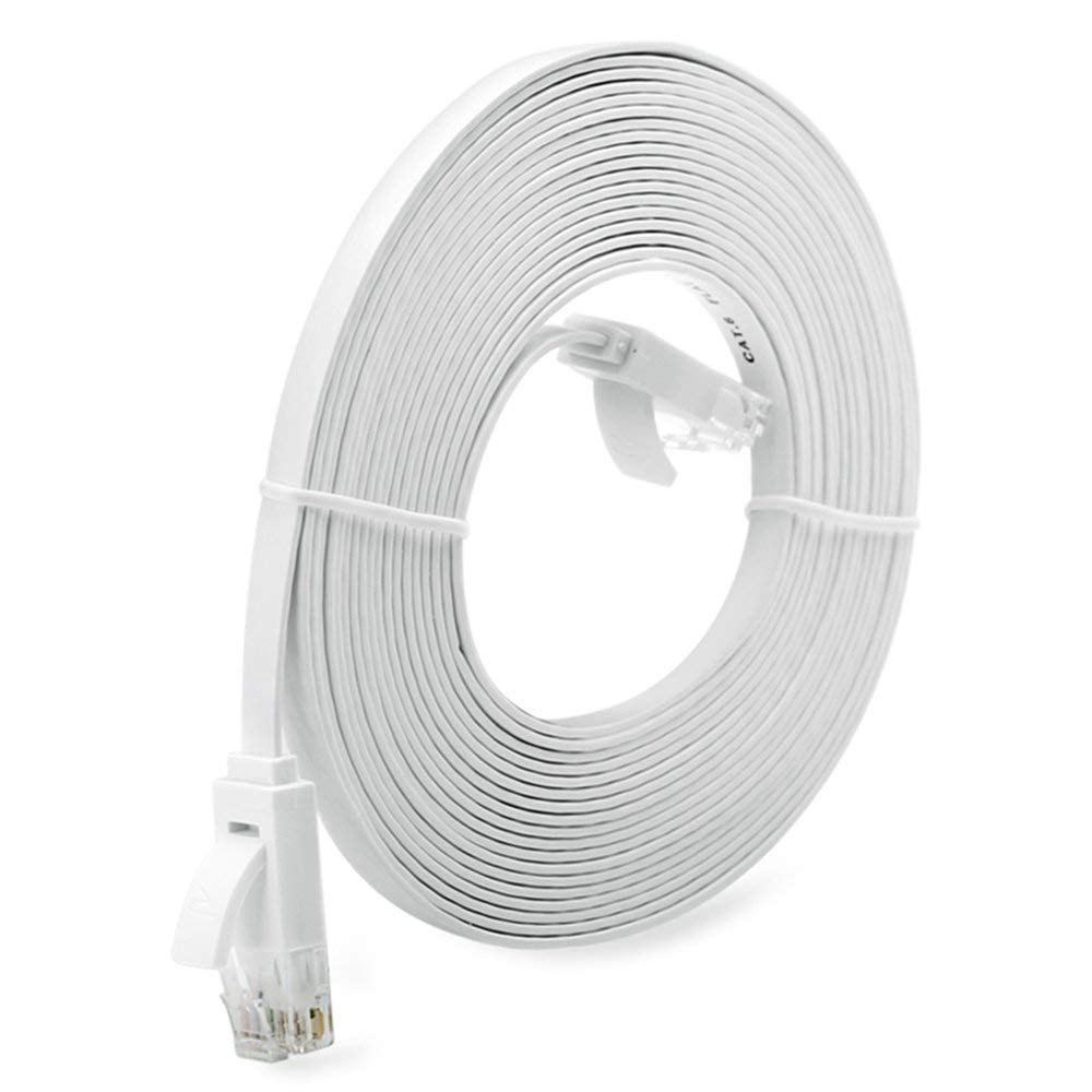 DGdolph 1//3//5//10M Super Long Rj45 Super High Speed Flat Type Ethernet Network Cable White 10M