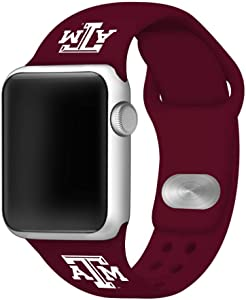 AFFINITY BANDS Texas A&M Aggies Silicone Sport Watch Band Compatible with Apple Watch (42mm/44mm - Maroon)