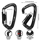 Storesum Climbing Carabiner with Auto Locking – 3 Pack Certified 24KN (5400 lbs) Heavy Duty Locking Carabiner Clip for Rock Climbing Rappelling Backpacking Gear Dog Leash, Large Carabiner Keychain