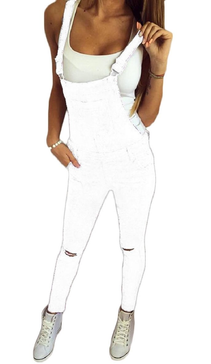 ZXFHZS-CA Women's Classic Jeans Distressed Skinny Jumpsuit Overalls