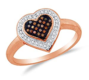 Size 6 - 10K Rose Gold Chocolate Brown & White Round Diamond Halo Circle Engagement Ring - Micro Pave Heart Center Setting Shape (.15 cttw.)
