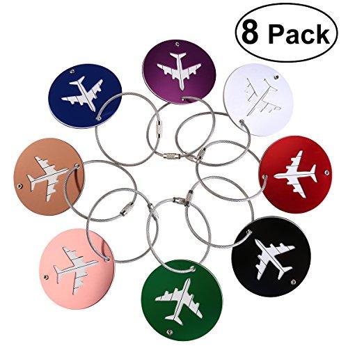 NUOLUX Aluminum Air Plane Pattern Luggage Tag Baggage Handbag ID Tag Name Card Holder with Key Ring 8pcs