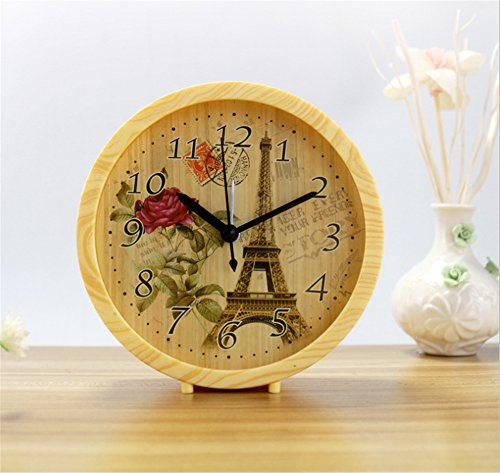 Ultra-quiet diamond wood creative mute alarm clock home bedroom bedside alarm clock,Yellow box flower (Side Table Alarm Clock)