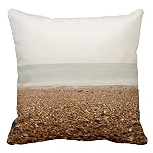 Home Style Sea at Brighton Beach 2 Pillowcases Personalized 20x20 inch Square Cotton Throw Pillow Cover Twin Sides