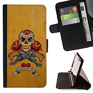 For HTC One M8 Guns Pistols Skull Yellow Rose War Style PU Leather Case Wallet Flip Stand Flap Closure Cover