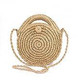 Round Straw Beach Bag Summer mini Vintage Handmade Crossbody Leather Bag Brown