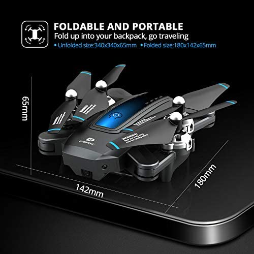 DEERC D10 Foldable Drone with Camera for Adults 720P HD FPV Live Video, Tap Fly, Gesture Control, Selfie, Altitude Hold, Headless Mode, 3D Flips, Quadcopter for Kids Beginners with 2 Batteries 24mins 51Wf7izKnXL