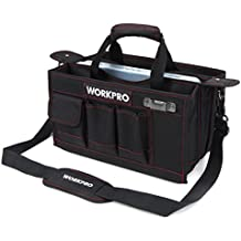 WORKPRO 15-inch Tool Storage Bag Collapsable with Center Tray for Hardware Parts, Adjustable Shoulder Strap Included