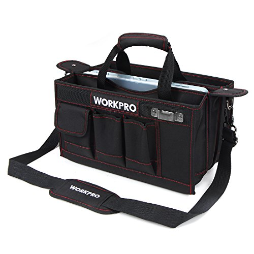 WORKPRO 15-inch Tool Storage Bag Collapsable with Center Tray for Hardware Parts, Adjustable Shoulder Strap Included by WORKPRO