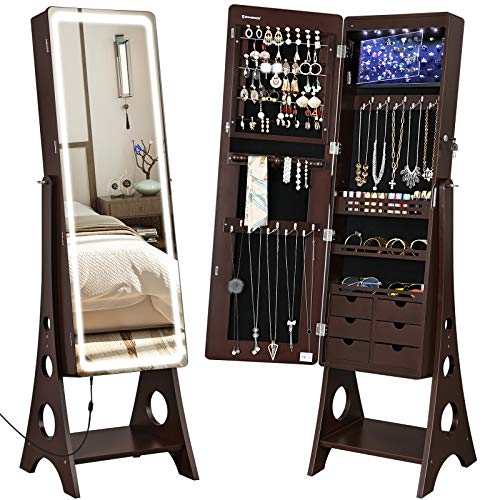 - SONGMICS Jewelry Cabinet Armoire with Adjustable Light Ribbon on Beveled Edge Mirror, Jewelry Organizer with Interior 6 LED Lights, Brown UJJC67BR