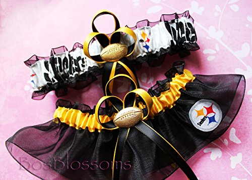 Customizable - Pittsburgh Steelers white fabric handmade into garters on black organza bridal prom wedding garter set with football charm