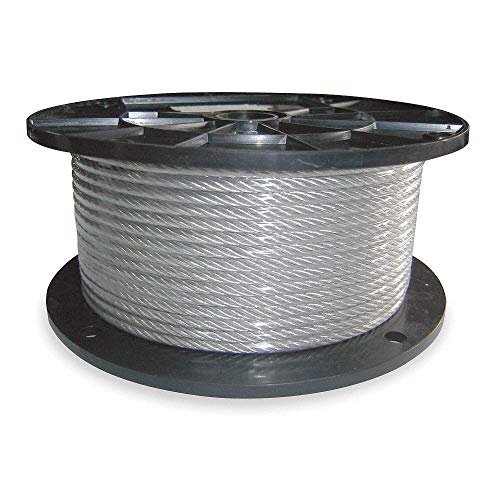 - L100Ft - DAYTON 304 Stainless Steel Cable,1/8 in,WLL420Lb,1x19,SS, 2TAL2