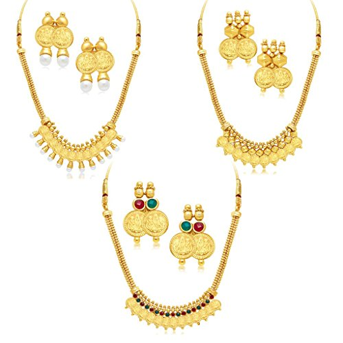 Sukkhi Traditional Gold Plated Wedding Jewellery Temple Necklace Set Combo For Women (290CB1650)