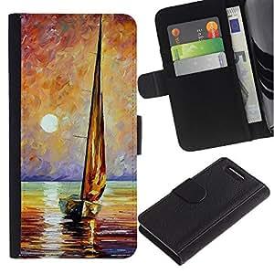 A-type (Ship Sea Sun Summer Captain) Colorida Impresión Funda Cuero Monedero Caja Bolsa Cubierta Caja Piel Card Slots Para Sony Xperia Z3 Compact / Z3 Mini (Not Z3)