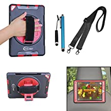 Cellular360 Shockproof Case for Apple iPad Air 2 , Car Headrest Mount Case with 360 Degree Swivel Stand, Handle and Shoulder Strap (Black/Red)