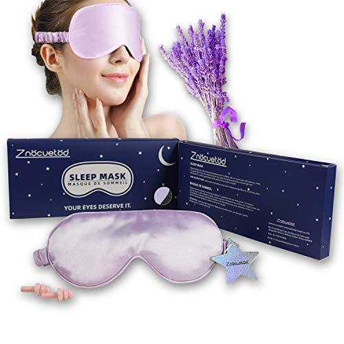 Silk Eye Mask for Sleeping Lavender Sleep Mask for Men Women,Soft Eye Blindfold for Yoga Meditation-Super Smooth and Updated Light Blocking Design with Ear Plug