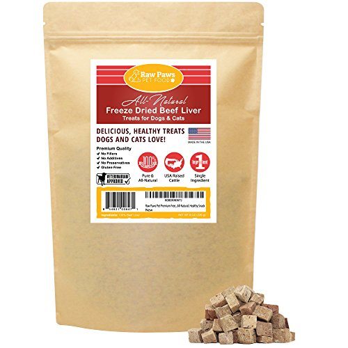 Raw Paws Freeze Dried Beef Liver Treats for Dogs & Cats, 16-oz - Made in USA, Real, Healthy, Grain-Free, Crunchy Dry Dog Liver Treats - Freeze Dried Dog Treats for Small to Large Dogs, Training Treats Dog Beef Cat Treats
