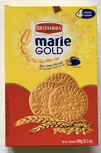 Tea Time Biscuits - Britannia Marie Gold Tea Time Biscuits Value Pack of 600g. (Stay Fresh Pack 4x150g for a total of 600 Grams)