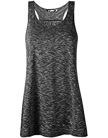 ebde2a5b5396b Yidarton Women Tank Tops Soft Cotton Racerback Workout Loose Fit Plus Size  Vest for Yoga Jogging