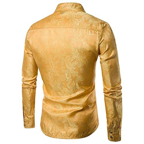 Slim Silk Satin Formel Jaune Tops Loisirs À Manches Homme Chemises Combinaison Dîner Chemise Longues Imprimé Confortable Coton Fit Mince YwEqxt5