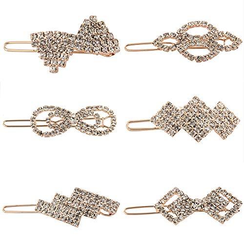 Yeshan Fashion Girls Small Crystal Hairpins Barrettes Rhinestone Elegant Flower Hair Snap Clip,Pack of -