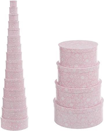 Cajas Forradas Rosas de cartón Redondas árabes para decoración France - LOLAhome: Amazon.es: Hogar